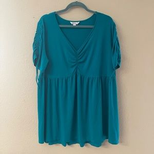 Boutique - turquoise stretchy baby doll blouse